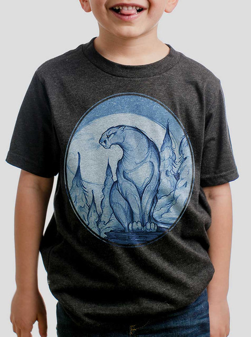 Mountain Lion - Multicolor on Heather Black Triblend Youth T-Shirt