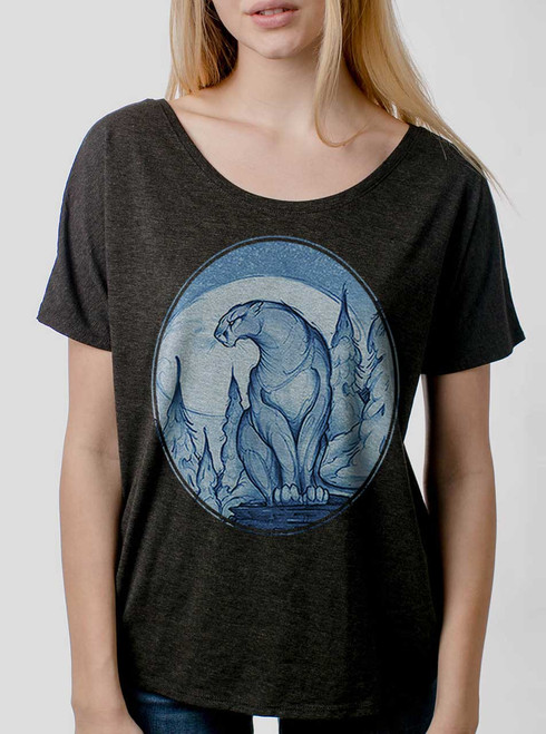 Mountain Lion - Multicolor on Heather Black Triblend Womens Dolman T Shirt