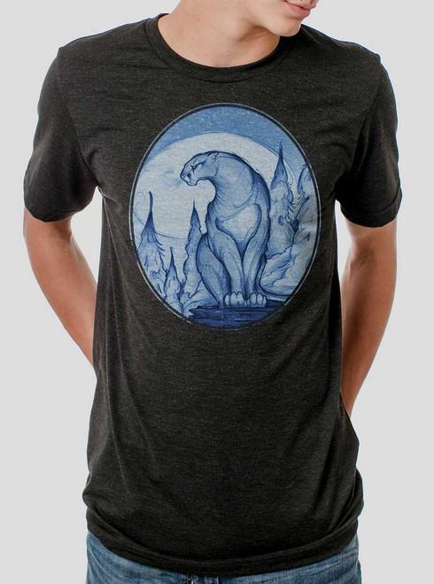 Mountain Lion - Multicolor on Heather Black Triblend Mens T Shirt