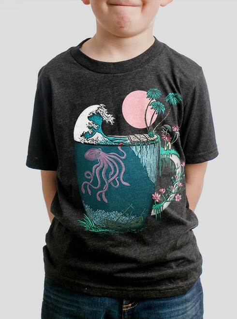Ocean Brew - Multicolor on Heather Black Triblend Youth T-Shirt