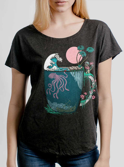Ocean Brew - Multicolor on Heather Black Triblend Womens Dolman T Shirt