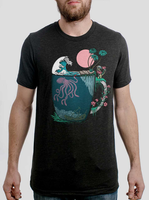 Ocean Brew - Multicolor on Heather Black Triblend Mens T Shirt