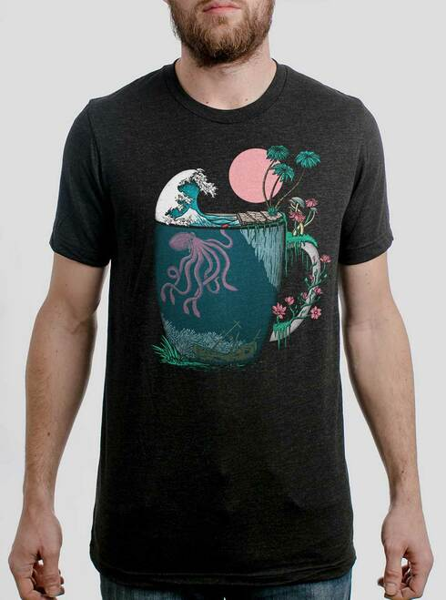 Ocean Brew - Multicolor on Heather Black Triblend Mens T Shirt