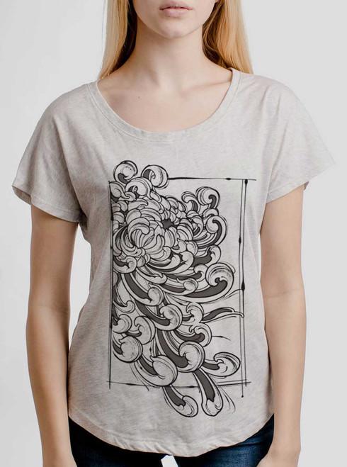 Chrysanthemum - Multicolor on Heather White Triblend Womens Dolman T Shirt