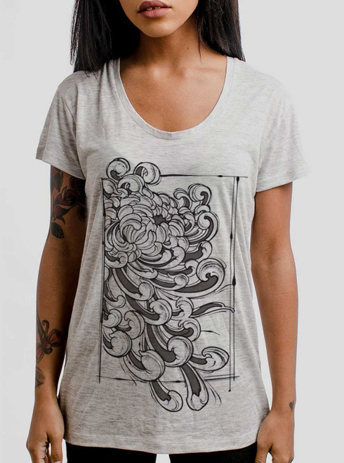 Chrysanthemum - Multicolor on Heather Oatmeal Womens Relaxed Fit T Shirt