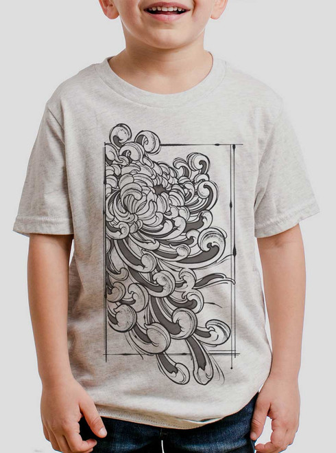 Chrysanthemum - Multicolor on Heather White Triblend Youth T-Shirt