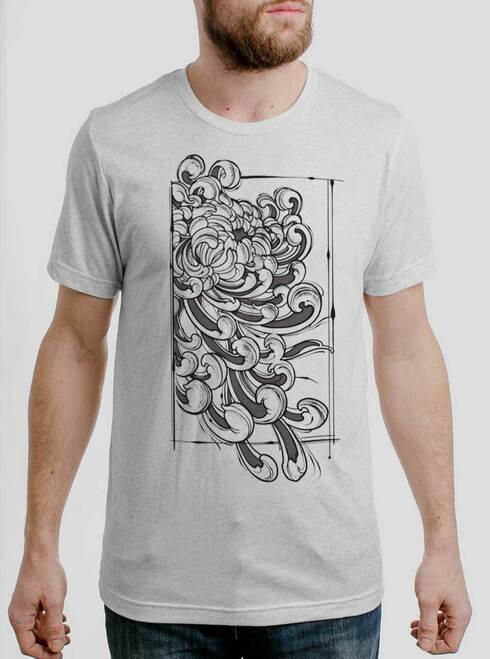 Chrysanthemum - Multicolor on Heather White Triblend Mens T Shirt