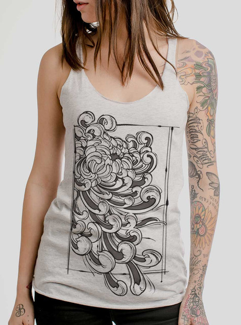 Chrysanthemum - Multicolor on White Triblend Womens Racerback Tank Top