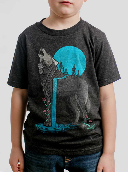 Lone Wolf - Multicolor on Heather Black Triblend Youth T-Shirt