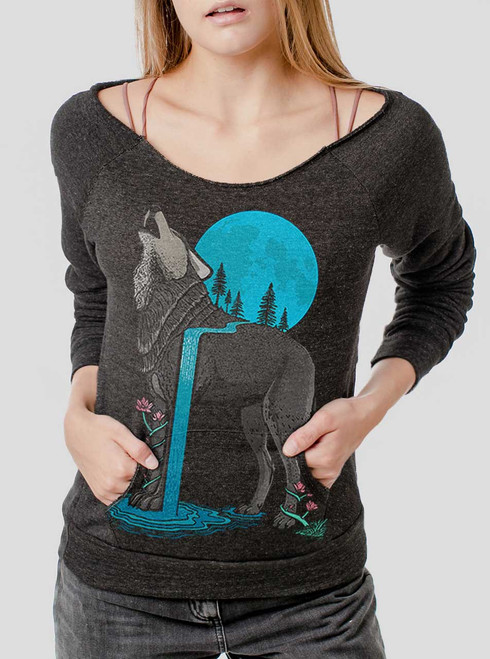 Lone Wolf - Multicolor on Charcoal Triblend Women's Maniac Sweatshirt