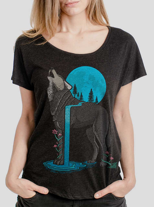Lone Wolf - Multicolor on Heather Black Triblend Womens Dolman T Shirt