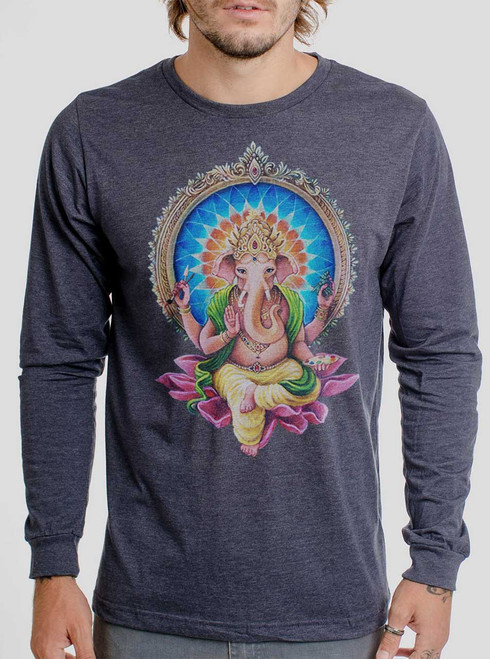 Remover of Obstacles - Multicolor on Heather Navy Men's Long Sleeve