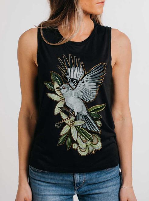 Mockingbird - Multicolor on Black Women's Muscle Tank Top