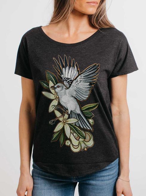 Mockingbird - Multicolor on Heather Black Triblend Womens Dolman T Shirt
