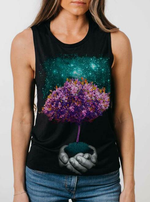 Creation - Multicolor on Black Womens Muscle Tank
