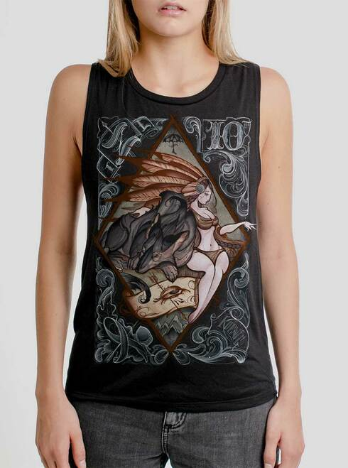 Lady And The Wolf - Multicolor on Black Womens Muscle Tank