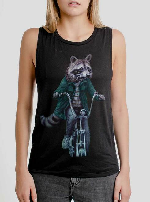 Raccoon - Multicolor on Black Womens Muscle Tank