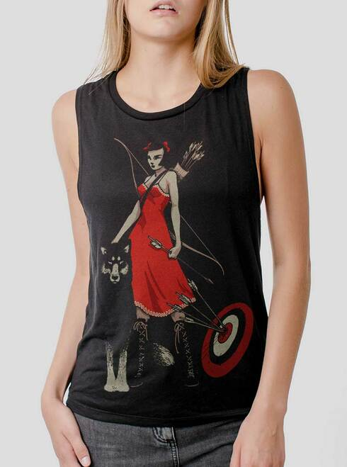 Huntress - Multicolor on Black Womens Muscle Tank