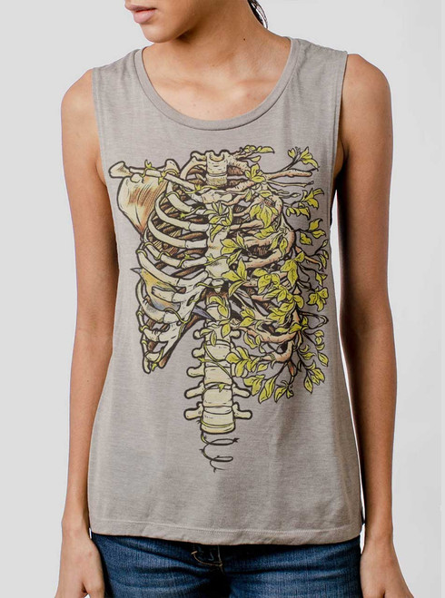 Ribs - Multicolor on Heather Stone Womens Muscle Tank