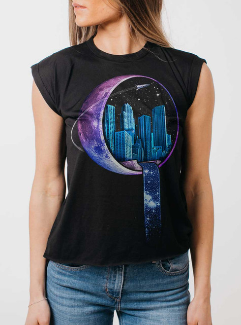 Stardust City - Multicolor on Black Women's Rolled Cuff T-Shirt
