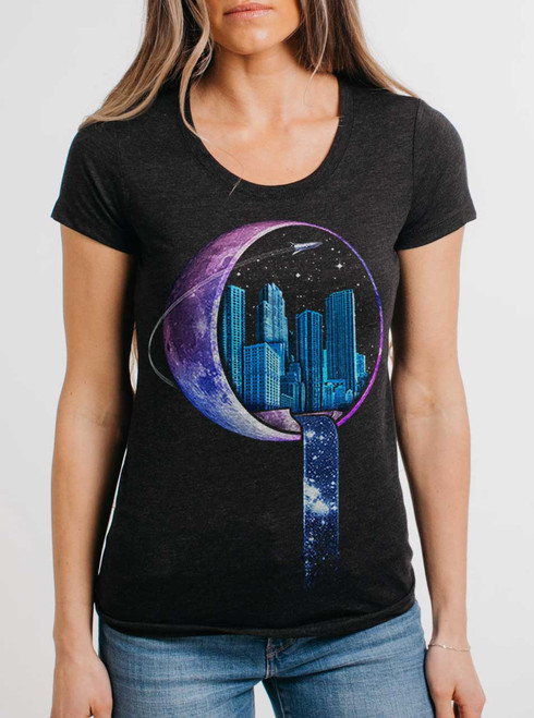 Stardust City - Multicolor on Heather Black Triblend Womens T-Shirt
