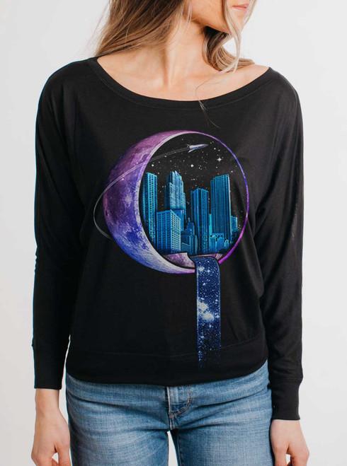 Stardust City - Multicolor on Black Women's Long Sleeve Dolman
