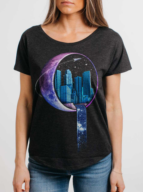 Stardust City - Multicolor on Heather Black Triblend Womens Dolman T Shirt
