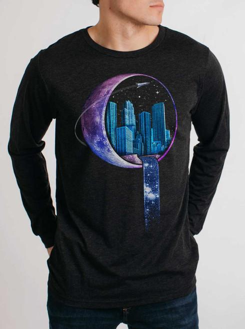 Stardust City - Multicolor on Heather Black Triblend Men's Long Sleeve