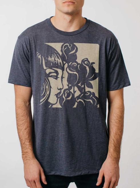 Dark Rose - Tan on Heather Navy Triblend Mens T Shirt