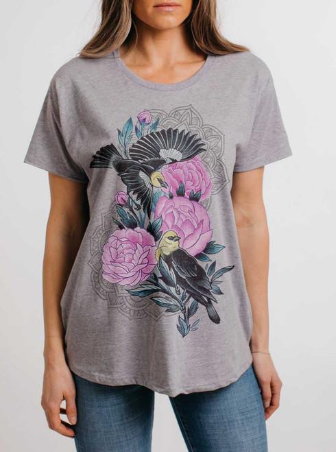 Black Birds - Multicolor on Heather Grey Womens Boyfriend T Shirt