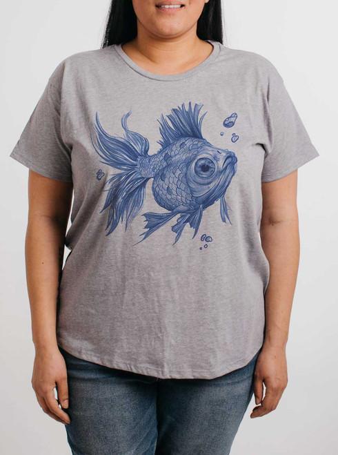 Blue Fish - Multicolor on Heather Grey Womens Boyfriend T Shirt