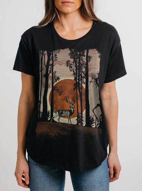 Buck Moon - Multicolor on Black Womens Boyfriend T Shirt