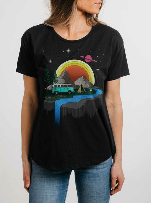 Camping - Multicolor on Black Womens Boyfriend T Shirt