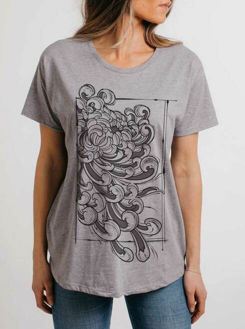 Chrysanthemum - Black on Heather Grey Womens Boyfriend T Shirt