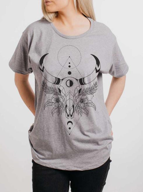 Cow Skull - Black on Heather Grey Womens Boyfriend T Shirt