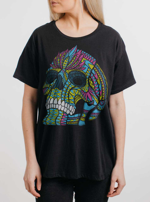 Cranium - Multicolor on Black Womens Boyfriend T Shirt