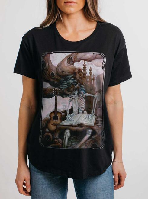 Dead Balladeer - Multicolor on Black Womens Boyfriend T Shirt
