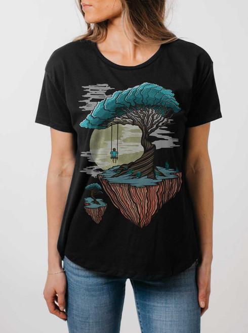 Drifting - Multicolor on Black Womens Boyfriend T Shirt