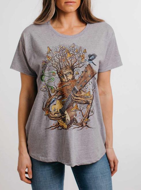 Forest Jam - Multicolor on Heather Grey Womens Boyfriend T Shirt