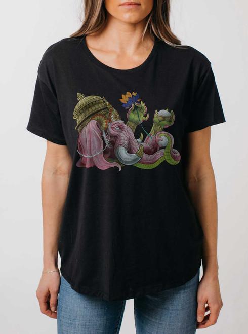 Ganapati - Multicolor on Black Womens Boyfriend T Shirt