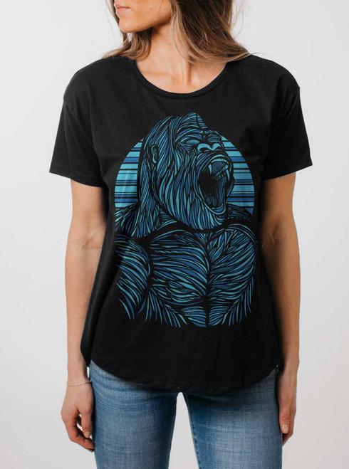 Gorilla - Multicolor on Black Womens Boyfriend T Shirt