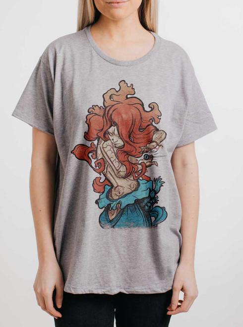 Gypsy - Multicolor on Heather Grey Womens Boyfriend T Shirt
