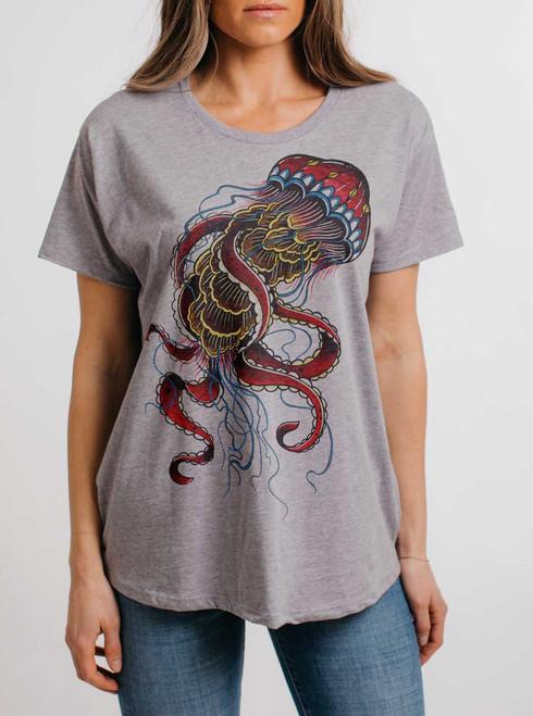Jelly - Multicolor on Heather Grey Womens Boyfriend T Shirt
