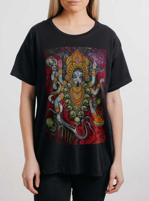 Kali - Multicolor on Black Womens Boyfriend T Shirt
