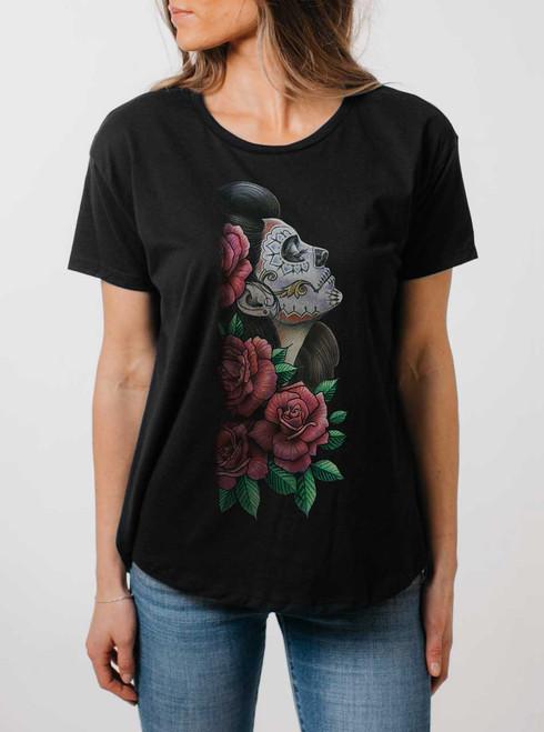 Lady Of The Dead - Multicolor on Black Womens Boyfriend T Shirt