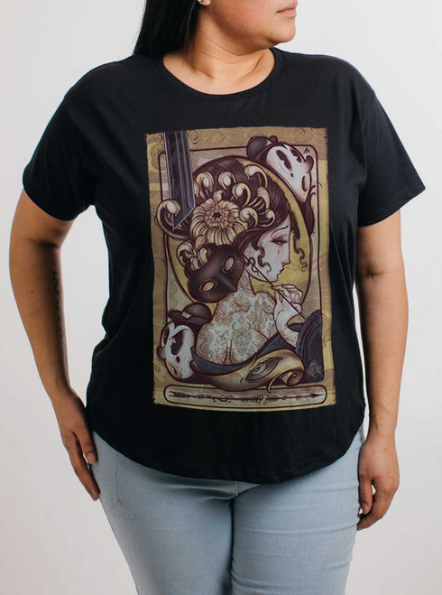 Lady with the Mask - Multicolor on Black Womens Boyfriend T Shirt