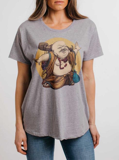 Little Buddha - Multicolor on Heather Grey Womens Boyfriend T Shirt