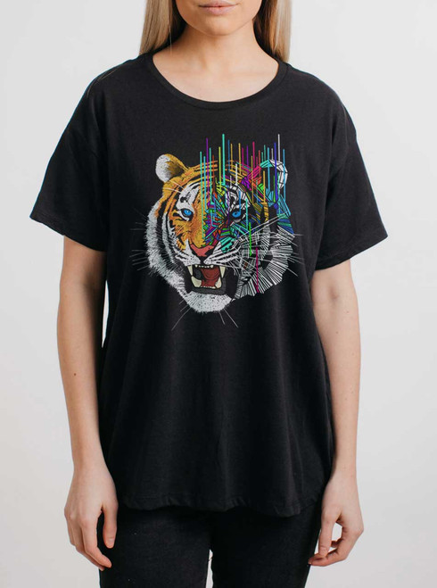Melting Tiger - Multicolor on Black Womens Boyfriend T Shirt