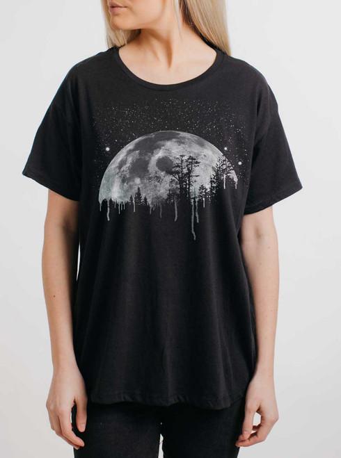 Moon - White on Black Womens Boyfriend T Shirt