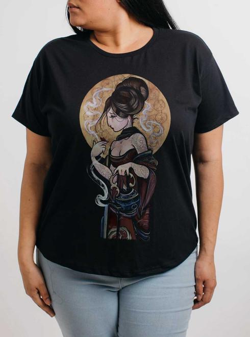 Moonlight Lady - Multicolor on Black Womens Boyfriend T Shirt